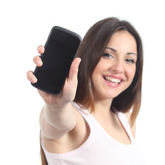Happy woman showing a black mobile phone screen