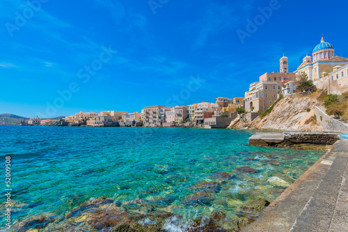Staande foto Athene Greece Syros island artistic view of main capitol, also known as