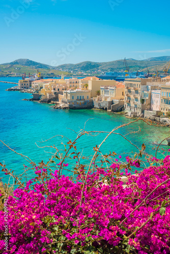 Greece Syros island artistic view of main capitol, also known as