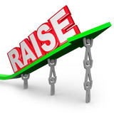 Pay Raise Word Increased Income Workers Lift Arrow