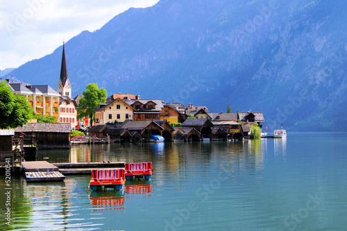 Lakeside village of Hallstatt in the Alps of Austria