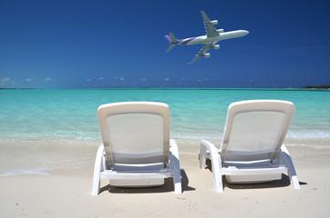 Two sunbeds overlooking Atlantic. Exuma, Bahamas