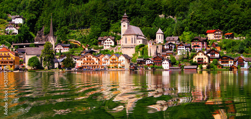 Panaramic view of the village of Hallstatt, Austria