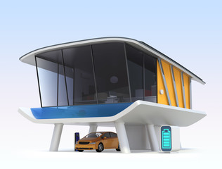 Energy efficient  house with electric car, EV charger.