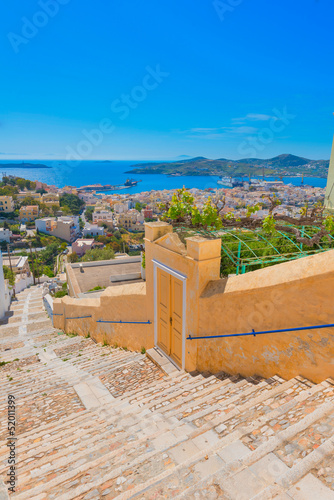 Staande foto Athene Greece Syros island panoramic view of main capitol with sea in b