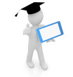 3d white man in a grad hat with tablet pc - best gift a student
