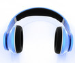 Blue headphone on a white background