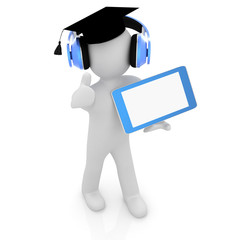 3d white man in a grad hat, tablet pc - best gift a student