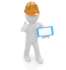 3d white man in a hard hat with thumb up and tablet pc