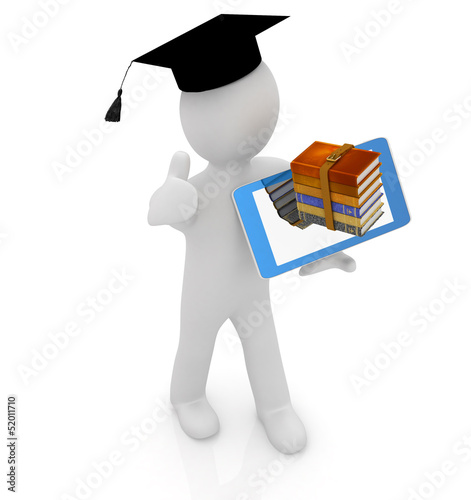 3d white man in a grad hat,books and tablet pc