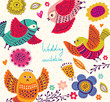 Cute birds. Greeting card