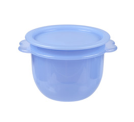 Plastic container for liquid food isolated on white