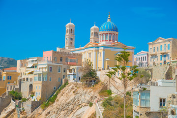 Greece Syros island view of a church in main capitol at summer t