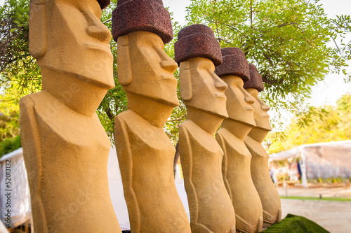 Moais statues in the garden
