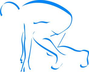 Blue silhouette runner