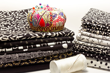 tools for patchwork black and white with pincushion