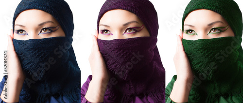Collage of asian kazakh woman with oriental professional make-up