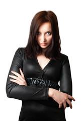 Portrait of a beautiful girl in black dress