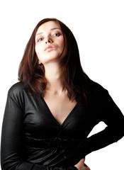 Portrait of a beautiful girl in a black dress