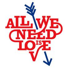 Herz-Typografie. Alles was wir brauchen ist die Liebe. Art-Deco-Stil.