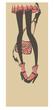 funny image of girl lefs and fashionable bag