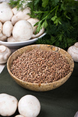 Mushrooms and buckwheat -healthy eating