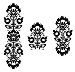 Folk embroidery - floral traditional polish in black and white