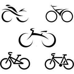 set of icons with stylized bikes, vector illustration