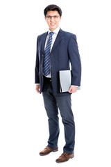 Business man pointing to white background
