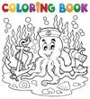 Coloring book octopus sailor 1