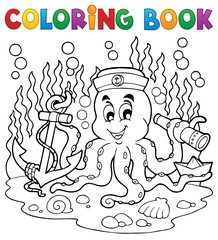 Coloring book octopus sailor 1
