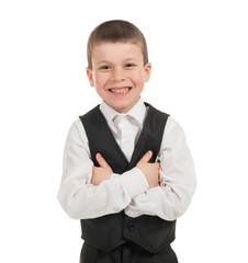 boy in a suit on white