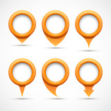 Set of orange circle pointers