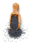 poppy seeds in a wooden scoop