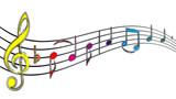 Bunte Notenschlüssel Noten Musik mit Pinsel-Effekt