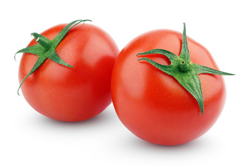Two fresh red tomatoes isolated on white with clipping path