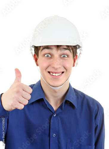 Happy Young Man in Hard Hat