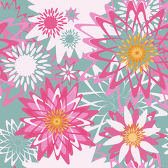 Floral seamless pattern with graphical flowers