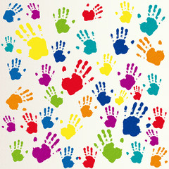 Vector friendship background, handprints