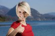 Beautiful woman giving a thumbs up