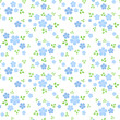Seamless pattern with small blue flowers. Vector illustration.