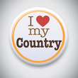 I Love My Country - Vector Pin / Button Badge