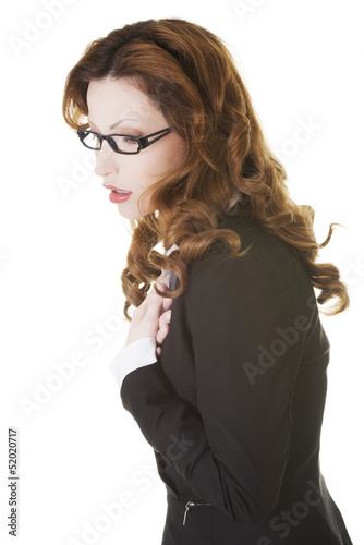 Business woman feeling heart pain