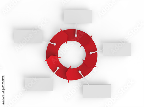 A red cycle of arrows with blank signs for making infographics