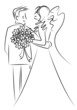 just married couple cartoon vector