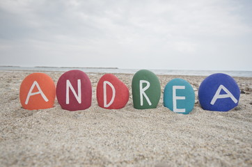 Andrea, male and female name on colouful stones