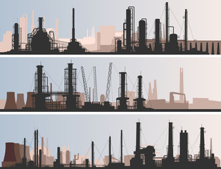 Abstract horizontal banner industrial part of city.