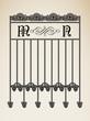 Vector vintage ornamental letter M N sign alphabet and frames
