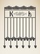 Vector vintage ornamental letter K L sign alphabet and frames