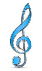 Blauer Violinschlüssel mit Pinsel-Effekt